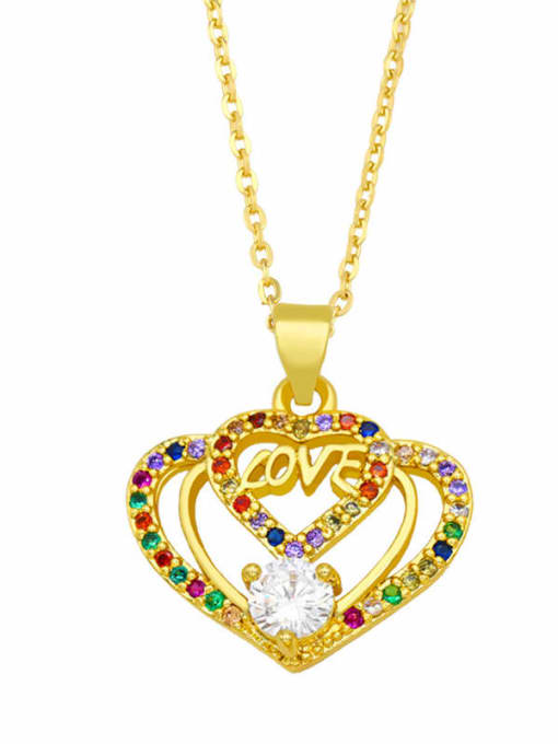 C Brass Cubic Zirconia Hollow Heart Vintage Necklace