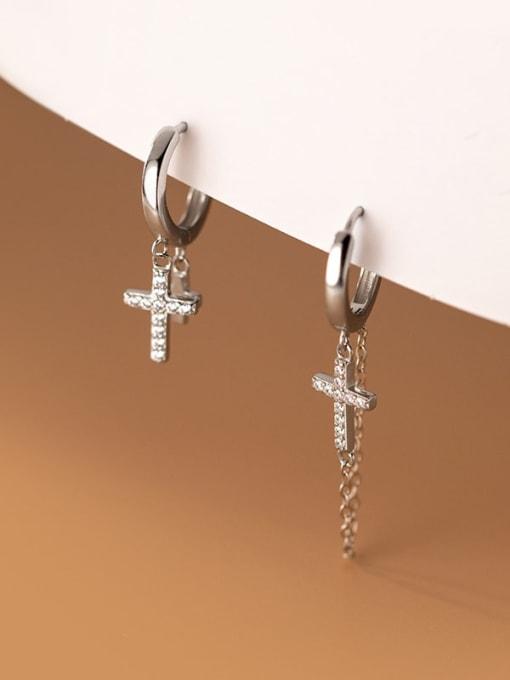 Rosh 925 Sterling Silver Cross Vintage Huggie Earring 2