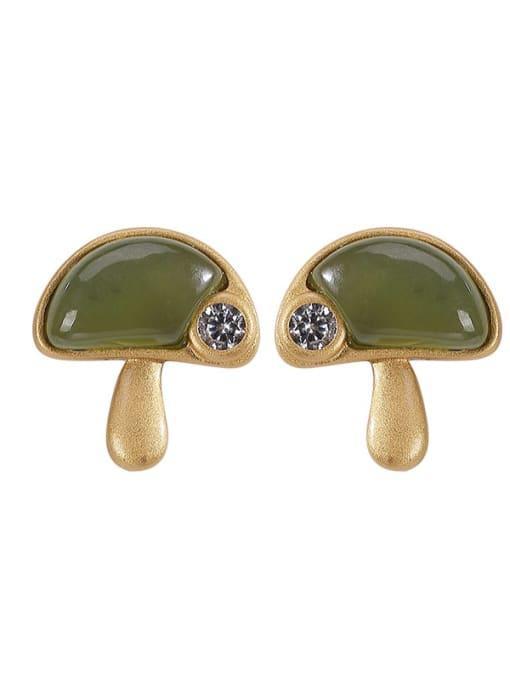 DEER 925 Sterling Silver Jade Mushroom Vintage Stud Earring 3