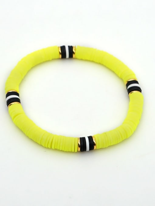 QT B200029H Stainless steel Multi Color Polymer Clay Letter Bohemia Stretch Bracelet