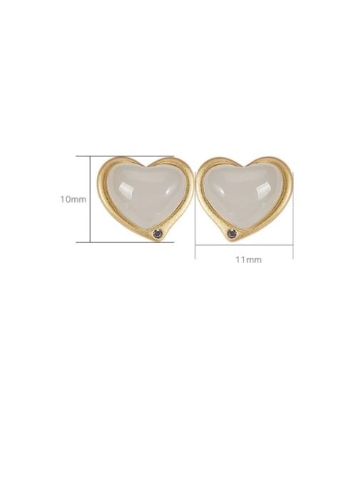 DEER 925 Sterling Silver Jade Heart Vintage Stud Earring 4