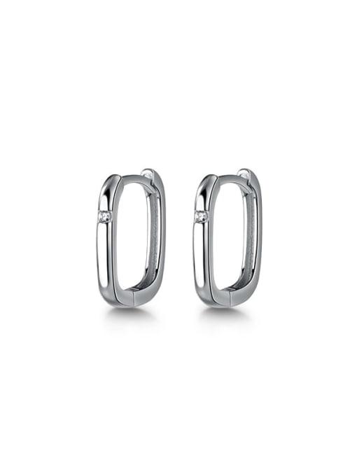 Rosh 925 Sterling Silver Hollow Geometric Minimalist Huggie Earring 3