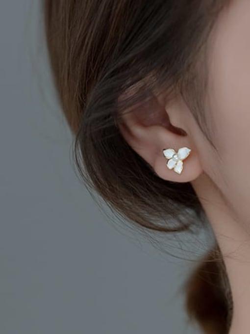 Rosh 925 Sterling Silver Shell Flower Minimalist Stud Earring 1