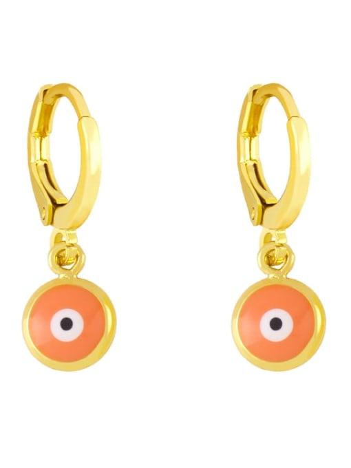 orange Brass Enamel Evil Eye Minimalist Huggie Earring