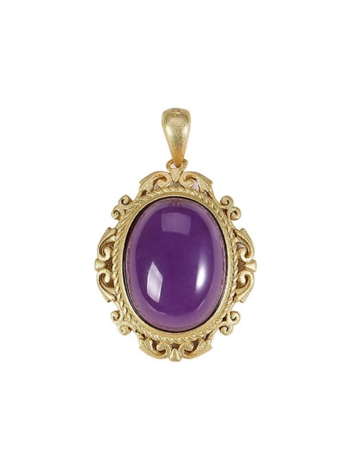 DEER 925 Sterling Silver purple mica Vintage Oval Pendant 0