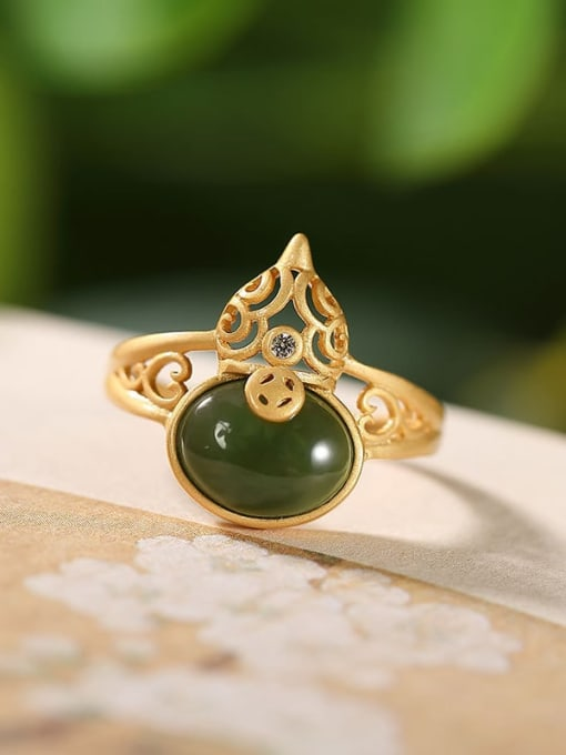 DEER 925 Sterling Silver Jade Irregular gourd Vintage Band Ring 2