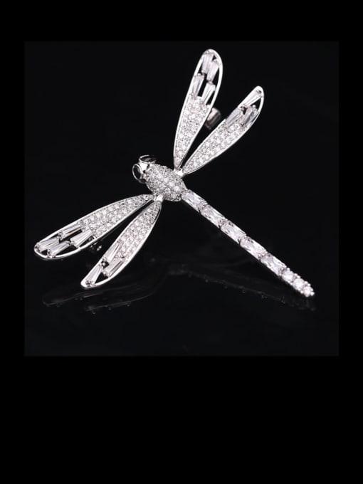 Luxu Brass Cubic Zirconia Dragonfly Minimalist Brooch 1