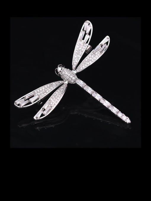 Platinum white zirconium Brass Cubic Zirconia Dragonfly Minimalist Brooch