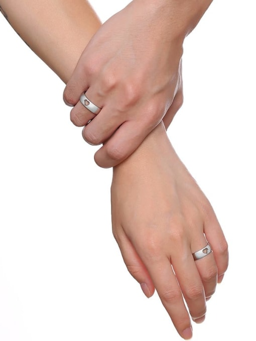 CONG Stainless steel Heart Minimalist Couple Ring 3