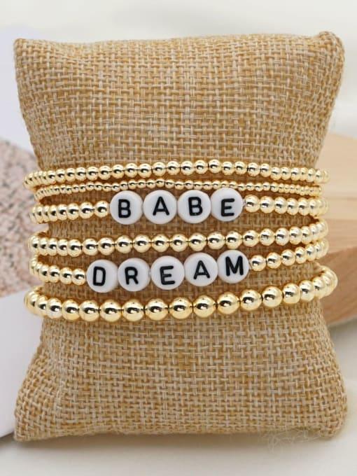 QT S200054 Stainless steel MGB Bead Letter Bohemia Beaded Bracelet