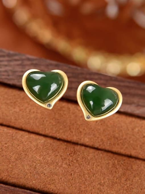 Jasper (a pair) 925 Sterling Silver Jade Heart Vintage Stud Earring