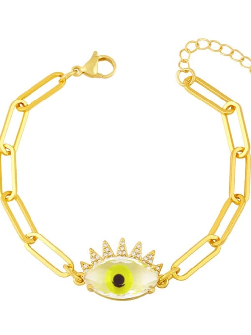 yellow Brass Enamel Evil Eye Vintage Link Bracelet