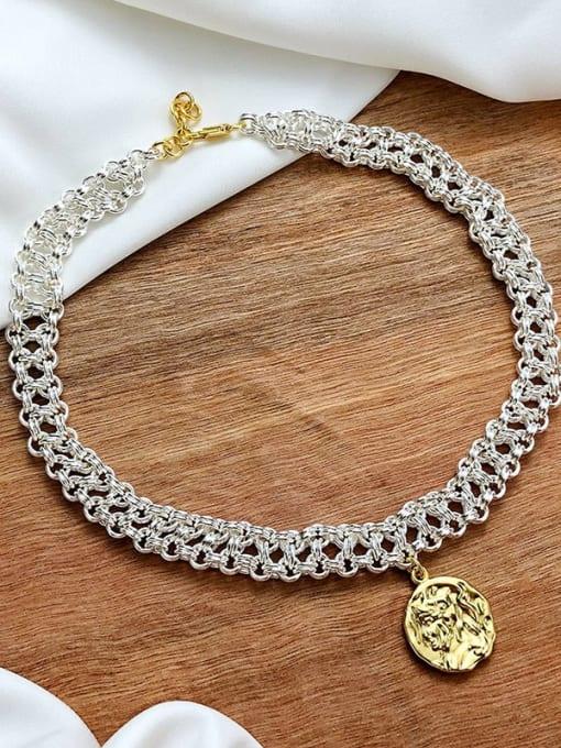 CONG Brass Geometric Vintage Multi Strand Necklace
