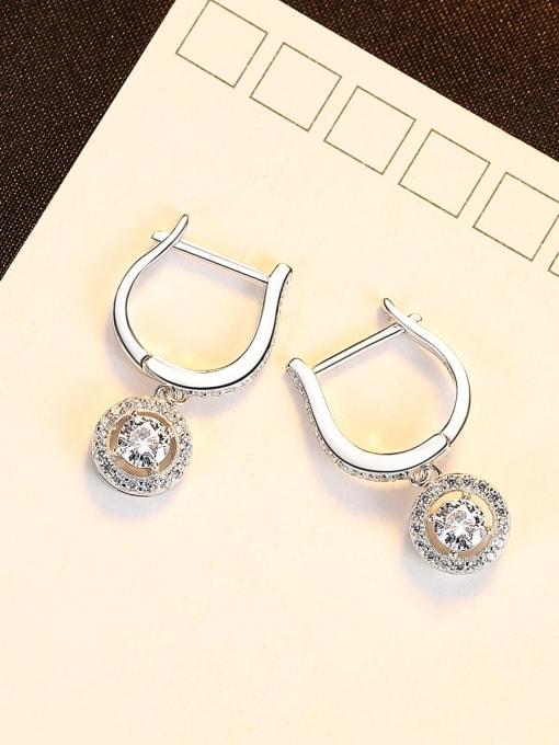 CCUI 925 Sterling Silver Cubic Zirconia Geometric Luxury Huggie Earring 2