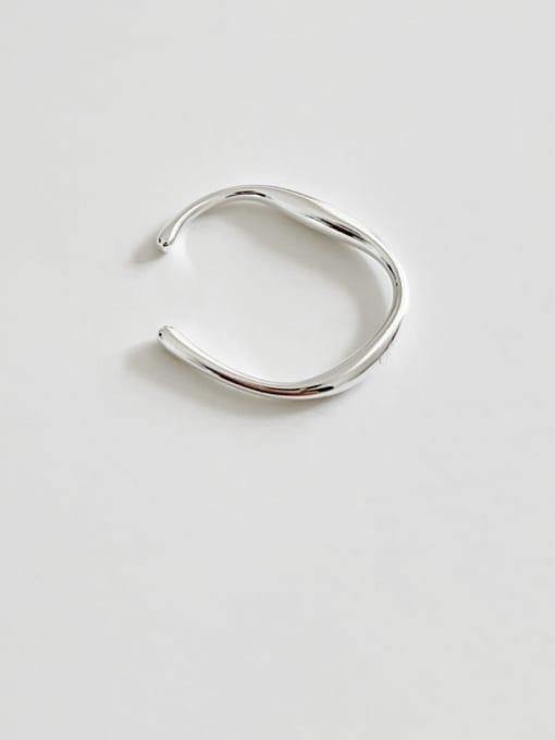 Boomer Cat 925 Sterling Silver Irregular Line Minimalist Band Ring 0