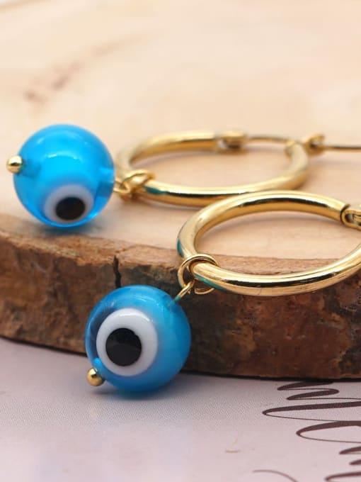 Roxi Stainless steel  MGB Bead Multi Color Evil Eye Bohemia Huggie Earring 1