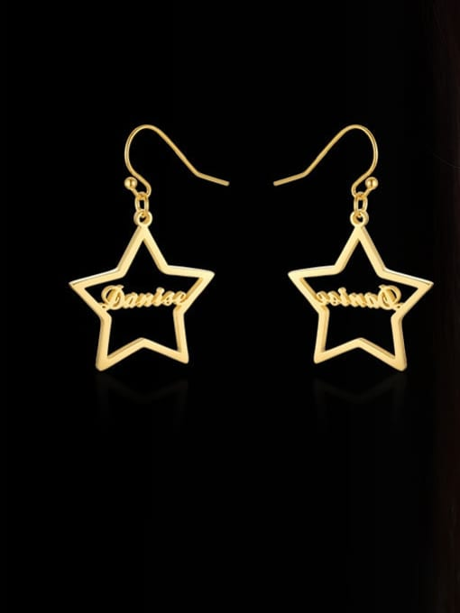 CONG Stainless steel  Hollow Star Minimalist Hook Earring 0