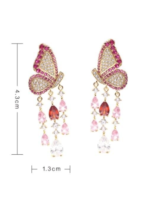 Luxu Brass Cubic Zirconia Butterfly Ethnic Drop Earring 1