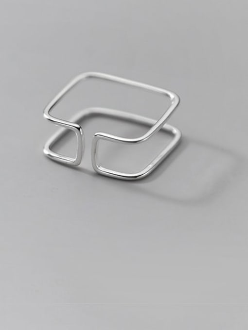 Rosh 925 Sterling Silver Geometric Line Minimalist Band Ring 1
