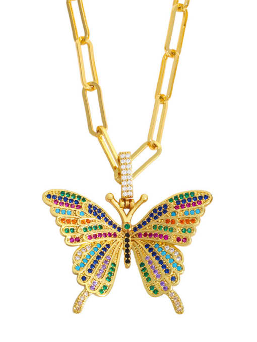 CC Brass Cubic Zirconia Butterfly Ethnic Necklace