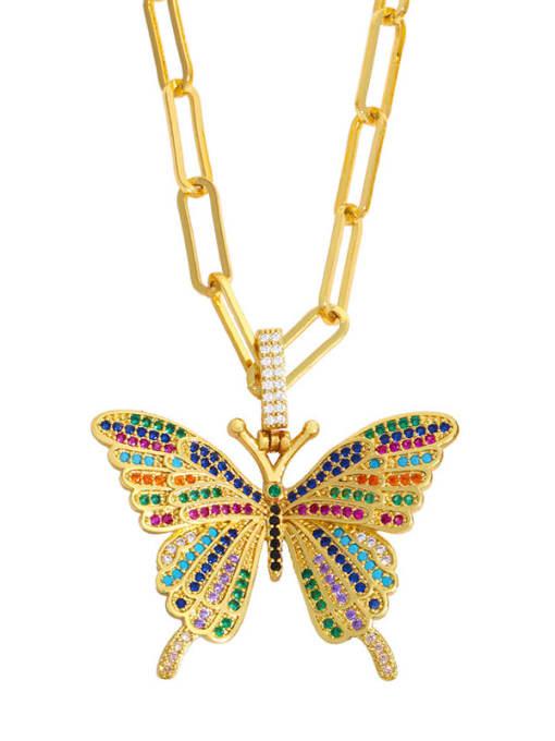 Color zirconium Brass Cubic Zirconia Butterfly Ethnic Necklace