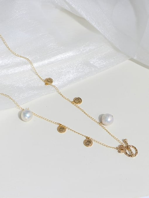 RAIN Brass Freshwater Pearl Coin Vintage Long Strand Necklace 3