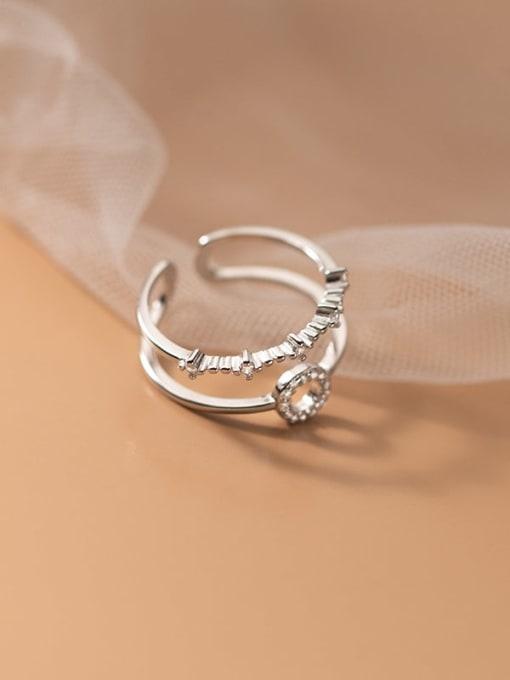Rosh 925 Sterling Silver Rhinestone Geometric Minimalist Stackable Ring 2