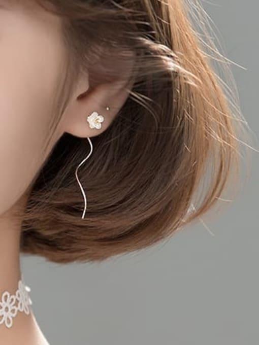 Rosh 925 Sterling Silver  Enamel Flower Minimalist Threader Earring 1