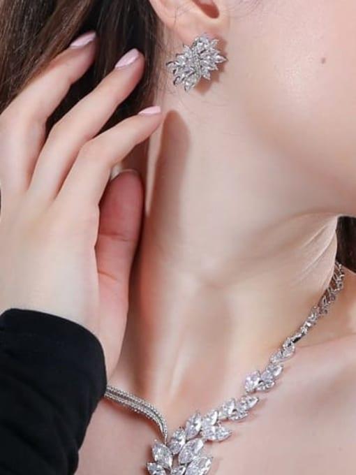 L.WIN Brass Cubic Zirconia  Luxury Flower Earring and Necklace Set 1