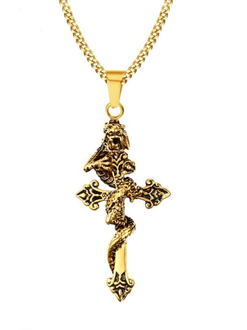 CONG Stainless steel Cross Ethnic Regligious Necklace