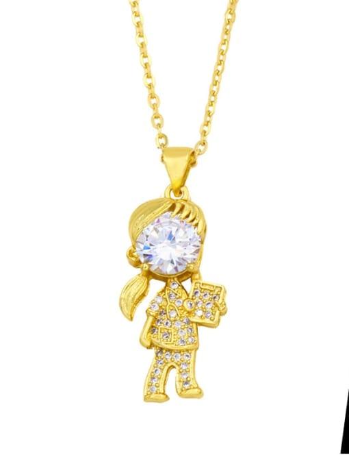 A Brass Cubic Zirconia Ange girl boy  Minimalist Necklace