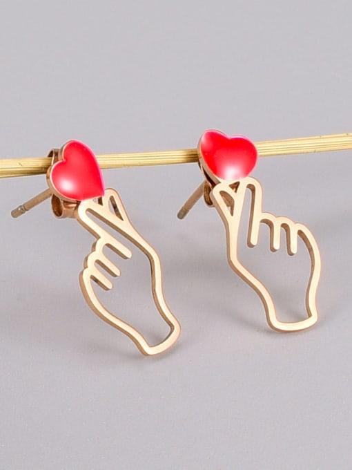 A TEEM Titanium Steel Enamel Hand Of Gold Minimalist Stud Earring 1