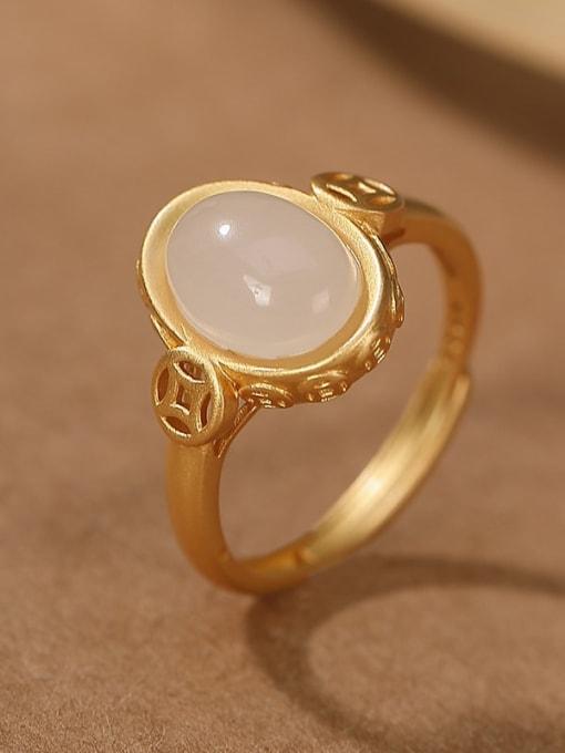 DEER 925 Sterling Silver Jade Geometric Vintage Band Ring 0