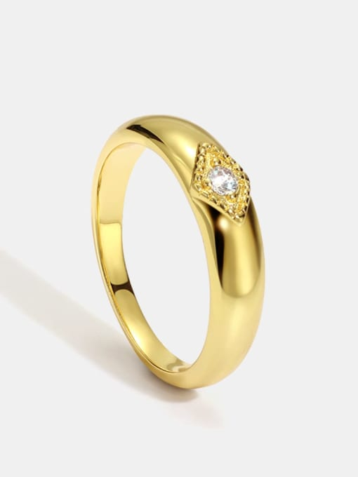 CHARME Brass Cubic Zirconia Round Minimalist Band Ring 0