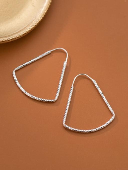 Rosh 925 Sterling Silver Triangle Minimalist Hook Earring 0