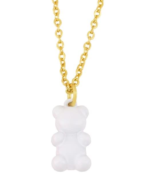white Brass Enamel Cute Bear Pendant Necklace