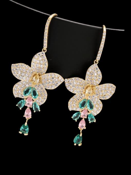 golden Brass Cubic Zirconia Flower Luxury Hook Earring