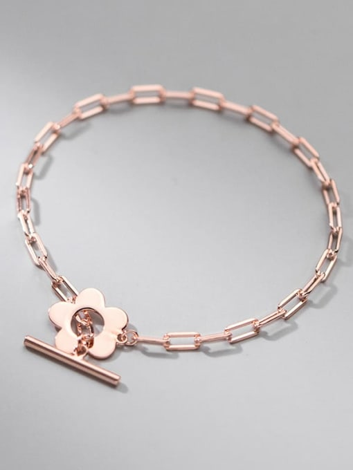 Rosh 925 Sterling Silver Geometric Minimalist Link Bracelet 3