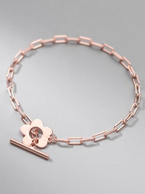 rose gold 925 Sterling Silver Geometric Minimalist Link Bracelet
