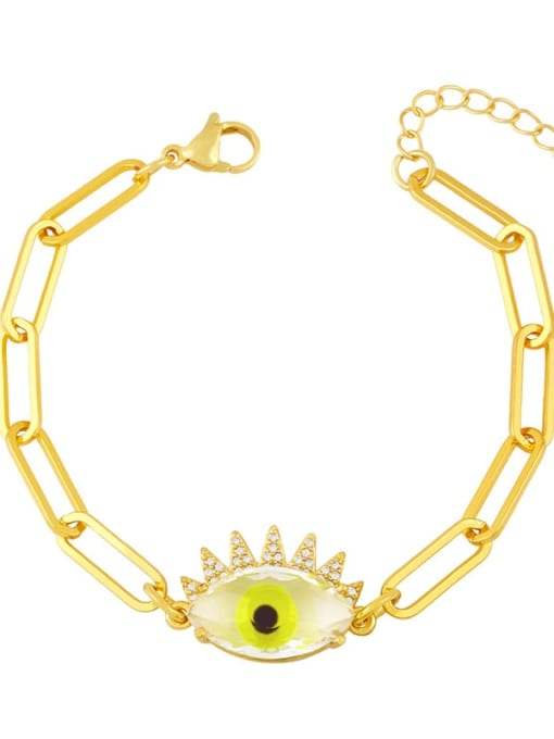 CC Brass Enamel Evil Eye Vintage Link Bracelet 4