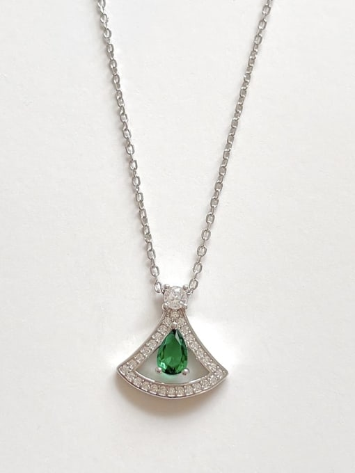 Boomer Cat 925 Sterling Silver Cubic Zirconia Triangle Minimalist Necklace