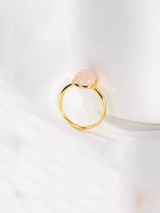 DEER 925 Sterling Silver  Oval Pink crystal Minimalist Band Ring