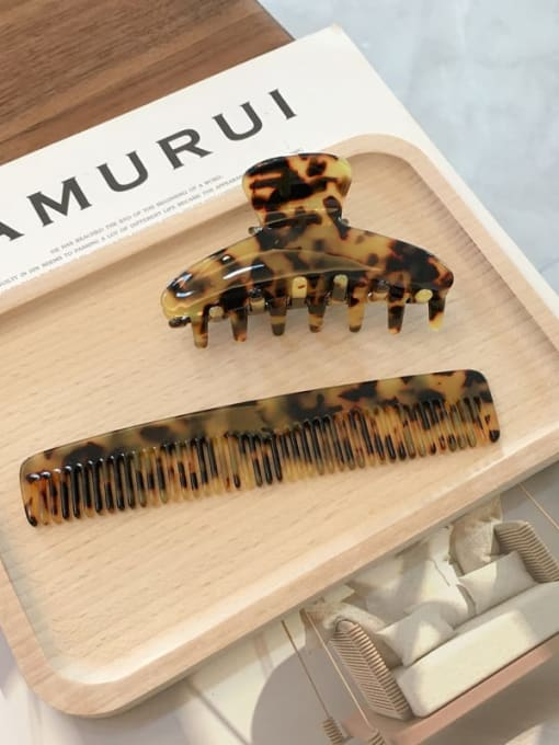 tortoise shell Set Cellulose Acetate Trend  Comb hairpin two-piece Set