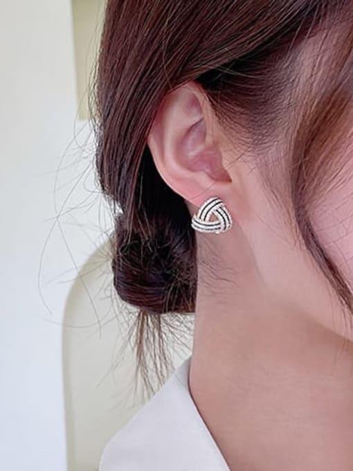 Luxu Brass Cubic Zirconia Geometric Luxury Stud Earring 2