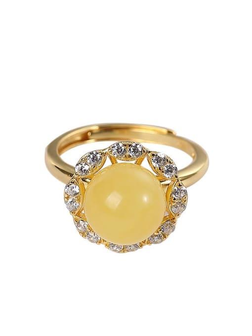 DEER 925 Sterling Silver Amber Flower Cute Band Ring 3