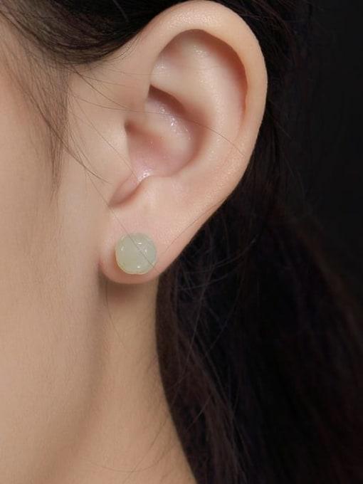 DEER 925 Sterling Silver Jade Lotus Flower Ethnic Stud Earring 2