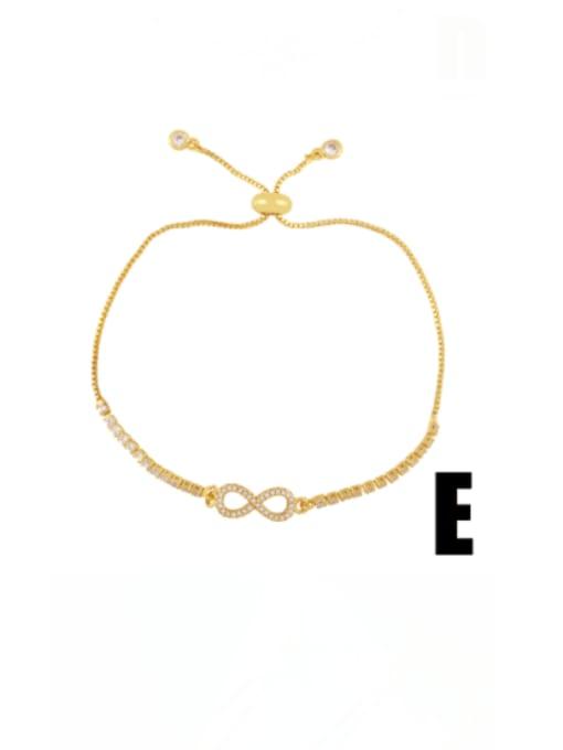 E Brass Cubic Zirconia Evil Eye Vintage Adjustable Bracelet