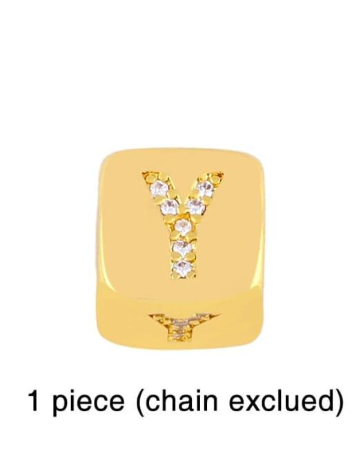 Y Brass Cubic Zirconia square Letter Minimalist Adjustable Bracelet
