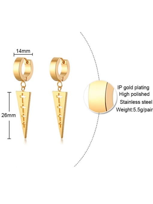 CONG Stainless steel  Hollow Cross Geometric Minimalist Huggie Earring 2