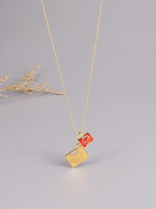 A TEEM Titanium Steel Enamel Geometric Minimalist Necklace